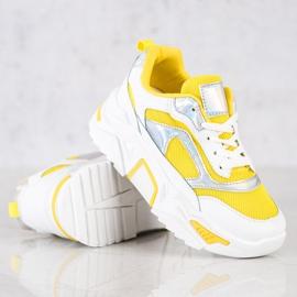 SHELOVET Sneakersy Na Platformie Z Siateczką białe srebrny żółte 3