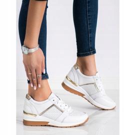 Goodin Białe Sneakersy Ze Skóry złoty 2