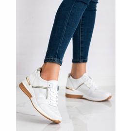 Goodin Białe Sneakersy Ze Skóry złoty 3