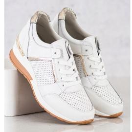 Goodin Białe Sneakersy Ze Skóry złoty 1