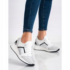 Goodin Biało-srebrne Sneakersy Ze Skóry białe czarne srebrny szare 1