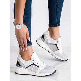 Goodin Biało-srebrne Sneakersy Ze Skóry białe czarne srebrny szare 3
