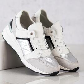 Goodin Biało-srebrne Sneakersy Ze Skóry białe czarne srebrny szare 2