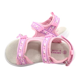 American Club Różowe Sandałki Wkładka Skóra fioletowe 4