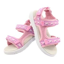 American Club Różowe Sandałki Wkładka Skóra fioletowe 5