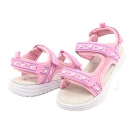 American Club Różowe Sandałki Wkładka Skóra fioletowe 3