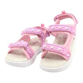 American Club Różowe Sandałki Wkładka Skóra fioletowe 2
