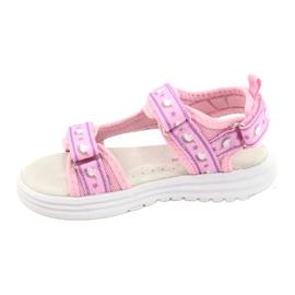 American Club Różowe Sandałki Wkładka Skóra fioletowe 1