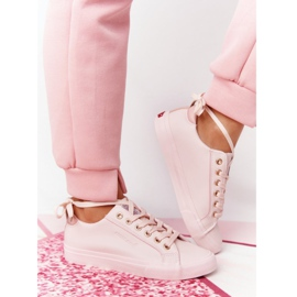Big Star Damskie Eko-Skóra Tenisówki Cross Jeans HH2R4004C Różowe 3