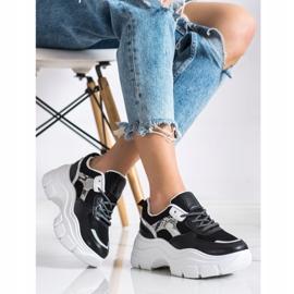 SHELOVET Stylowe Sneakersy Z Brokatem czarne 1