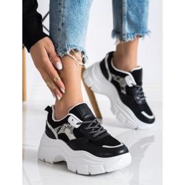 SHELOVET Stylowe Sneakersy Z Brokatem czarne 2