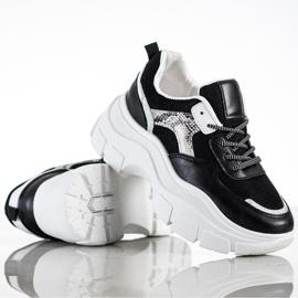 SHELOVET Stylowe Sneakersy Z Brokatem czarne 3