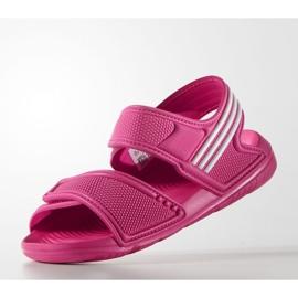 Sandały adidas Akwah 9 Jr AF3871 niebieskie różowe 2