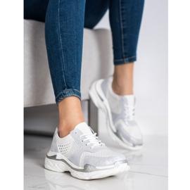 Goodin Skórzane Sneakersy Z Brokatem białe 2