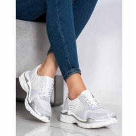 Goodin Skórzane Sneakersy Z Brokatem białe 3