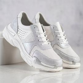 Goodin Skórzane Sneakersy Z Brokatem białe 1
