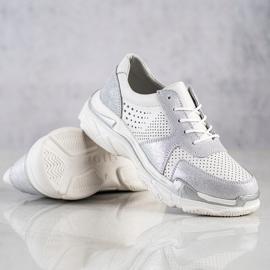 Goodin Skórzane Sneakersy Z Brokatem białe 4