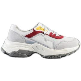 Goodin Wygodne Sneakersy Ze Skóry białe szare wielokolorowe 2
