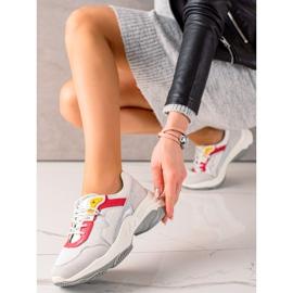 Goodin Wygodne Sneakersy Ze Skóry białe szare wielokolorowe 1
