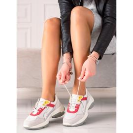 Goodin Wygodne Sneakersy Ze Skóry białe szare wielokolorowe 3