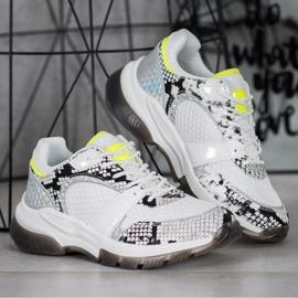 Kylie Wygodne Sneakersy Snake Print białe wielokolorowe 2