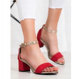 Goodin Eleganckie Sandały Na Słupku czerwone żółte 5