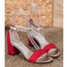 Goodin Eleganckie Sandały Na Słupku czerwone żółte 1