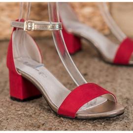 Goodin Eleganckie Sandały Na Słupku czerwone żółte 2