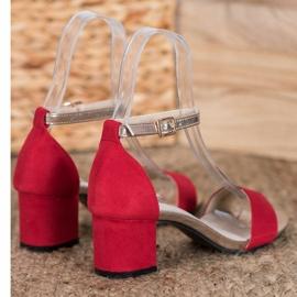 Goodin Eleganckie Sandały Na Słupku czerwone żółte 3