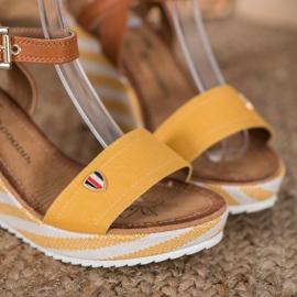 Goodin Modne Sandały Na Koturnie brązowe wielokolorowe żółte 1