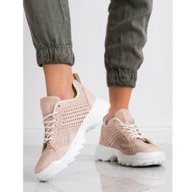 Kylie Lekkie Ażurowe Sneakersy różowe 5