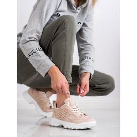 Kylie Lekkie Ażurowe Sneakersy różowe 8