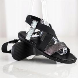 Goodin Komfortowe Czarne Sandałki szare 1