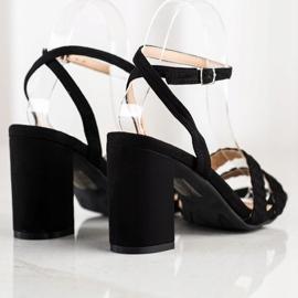 Kylie Zamszowe Sandałki Na Słupku czarne 2