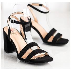 Kylie Zamszowe Sandałki Na Słupku czarne 3