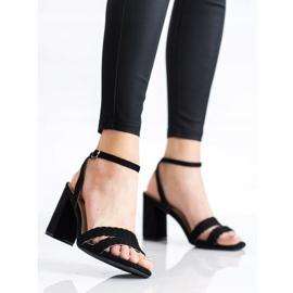 Kylie Zamszowe Sandałki Na Słupku czarne 1