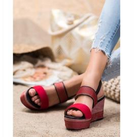 Goodin Czerwone Sandały Na Koturnie 3