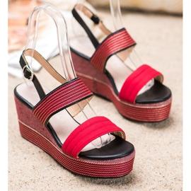 Goodin Czerwone Sandały Na Koturnie 1