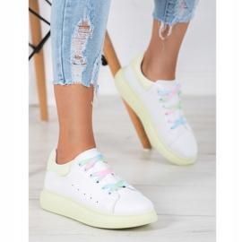 SHELOVET Sneakersy Z Kolorowymi Sznurówkami białe zielone 4