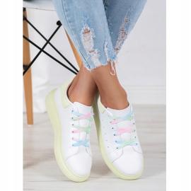 SHELOVET Sneakersy Z Kolorowymi Sznurówkami białe zielone 1