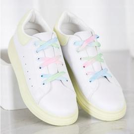 SHELOVET Sneakersy Z Kolorowymi Sznurówkami białe zielone 3