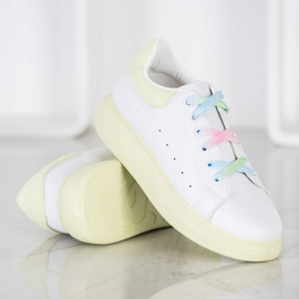 SHELOVET Sneakersy Z Kolorowymi Sznurówkami białe zielone 2