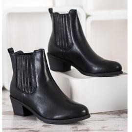 Ideal Shoes Klasyczne Wsuwane Botki czarne 3
