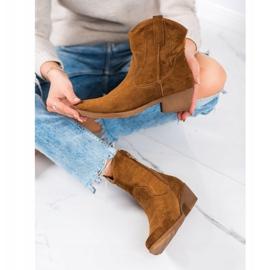 Ideal Shoes Kowbojki Z Zamszu brązowe 4
