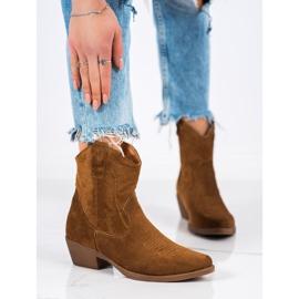 Ideal Shoes Kowbojki Z Zamszu brązowe 3