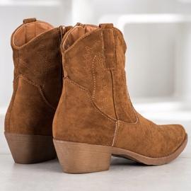 Ideal Shoes Kowbojki Z Zamszu brązowe 1