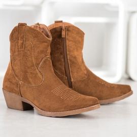 Ideal Shoes Kowbojki Z Zamszu brązowe 2