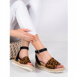 Kylie Sandały Na Koturnie Leopard Print brązowe czarne 3