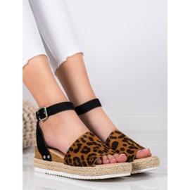 Kylie Sandały Na Koturnie Leopard Print brązowe czarne 1