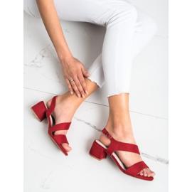 Kylie Czerwone Sandały Na Niskim Słupku 2